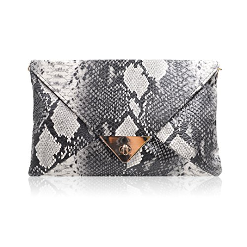 Amily Snakeskin Print Envelop Clutch Shoulder Handbag Evening Purse Clutch Handbag Chain Shoulder Handbag