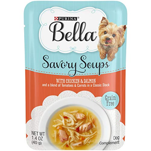 Purina Bella Grain Free Small Breed Wet Dog Food Complement, Savory Soups With Chicken & Salmon - (16) 1.4 oz. Pouches (Best Rated Chicken Soup)