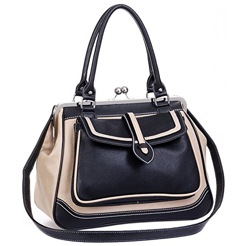 MG Collection Aubrey Vintage Clasp Closure Doctor Shoulder Bag, Black, One Size