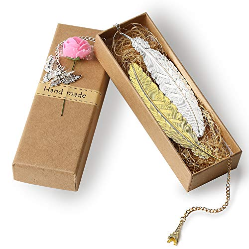 Classical Fine Metal Pendant Bookmark, Feather Bookmark,Leaf Bookmark (2 Packs) (Gold and Silver Feather)