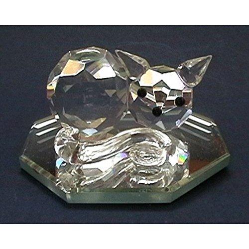 Crystal World - Cut Glass Sleeping Cat on Mirror Figurine