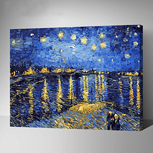 MADE4U Paint By Numbers Kits Canvas Mounted on Wood Frame with Brushes and Paints for Adults Children Seniors Junior DIY Beginner Level Acrylics Painting Kits on Canvas (Van Gogh G323) by MADE4U by MADE4U