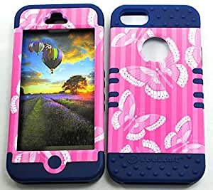 CellTx Shockproof Hybrid Case For Apple (iphone 5, 5S) and Stylus Pen, Dark Blue Soft Rubber Skin with Hard Cover (Butterflies, Pink) AT&T, T-Mobile, Sprint, Verizon, Cricket, Virgin Mobile, Boost Mobile by Maris's Diary