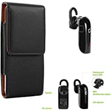 "SumacLife Verticle Black Cell Phone Holster Pouch w/ BlueTooth Headset for Alcatel Smartphones 5.5"" - 6.25in"