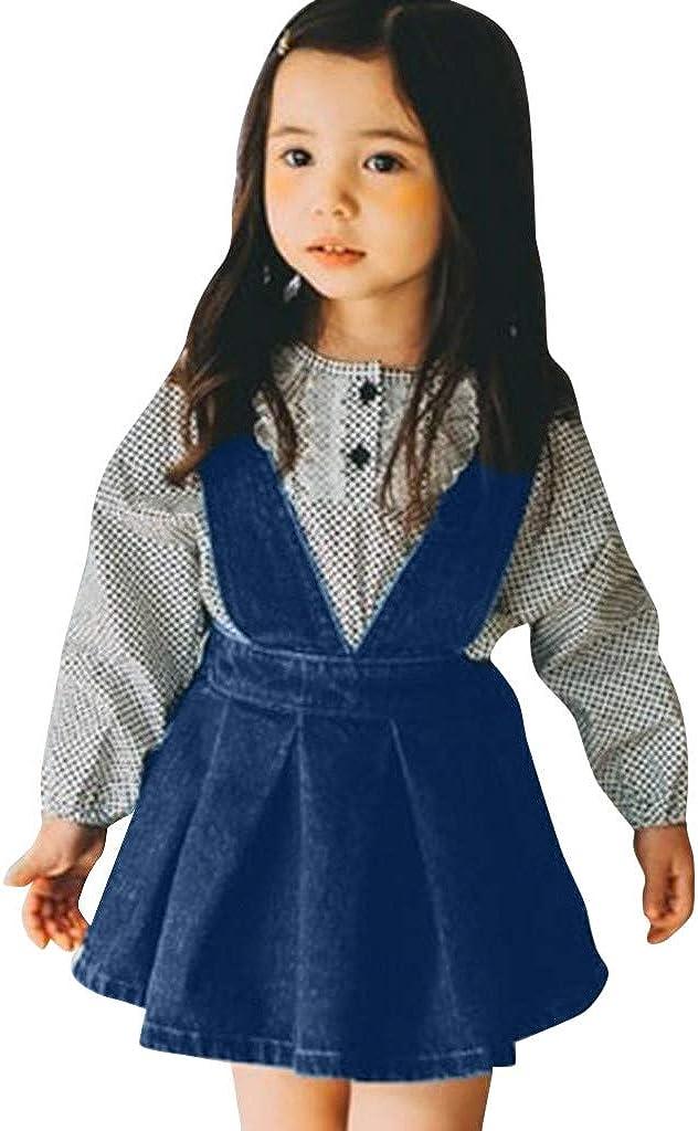 ASHOP - Vestidos niña de Princesa 2019 - Tutú Faldas de Fiesta - Denim sólido sin Mangas Vestido de Verano - 0-4 Años