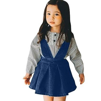 82642e505c7 Denim Bib Pants Skirts For Little Girls 6 Months Baby Girls 2~4 ...
