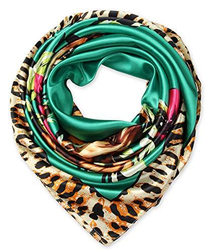 Ladies Pretty Satin Neckerchief Square Scarf headband 35 x 35 inches Flowers Leopard Aqua by corciova