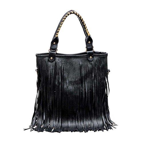 Borsa A Tracolla Borsa Della Nappa Casuale Big Bag Delle Donne,Black-OneSize