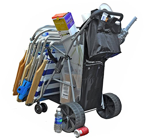 (Wonder Wheeler Beach Cart - Ultra Wide Wheels with Removable Tote Bag )