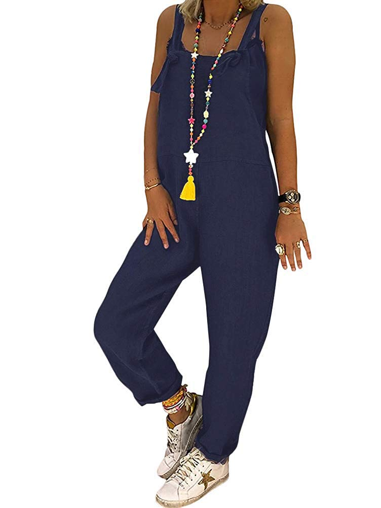 Tomwell Mujer Baggy Elegante Peto De Pantalones Largos Mono Harem Anchos Talla Grande Casual Moda Bolsillos Tiras Fiesta Mujer Petos