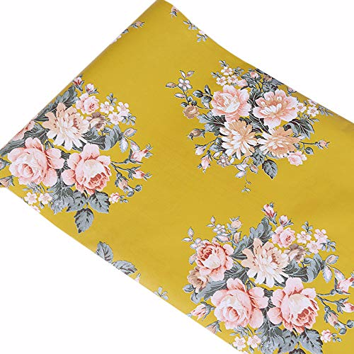 TaoGift Self Adhesive Vinyl Floral Shelf Liner Contact Paper for Drawer Dresser Closet Furniture Backsplash Wall Arts Crafts Decal Sticker (Yellow, 17.7inx9.8ft)