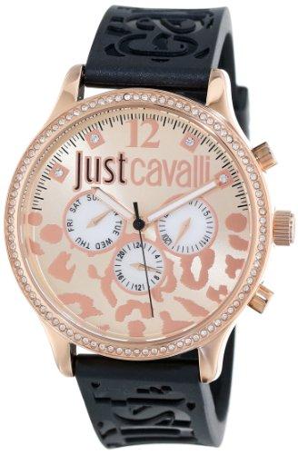 Just Cavalli Huge Reloj de cuarzo para mujer con oro rosa esfera analógica pantalla y correa de goma en color negro r7251127511