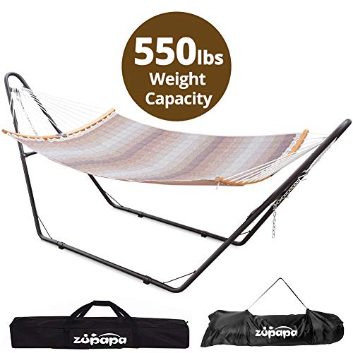 Hammock with Stand 2 person, Upgraded Steel Hammock Frame and Quilted Curved Bamboo Spreader Bar Hammock, 550LBS Capacity for Indoor Outdoor Use (Hammock Stand 12 Feet)