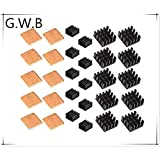 G.W.B Easycargo 30 pcs Raspberry Pi Heatsink Kit Aluminum + Copper + 3M 8810 Thermal Conductive Adhesive Tape for Cooling Cooler Raspberry Pi 3 B+, Pi 3 B, Pi 2, Pi Model B+ (30 pcs)