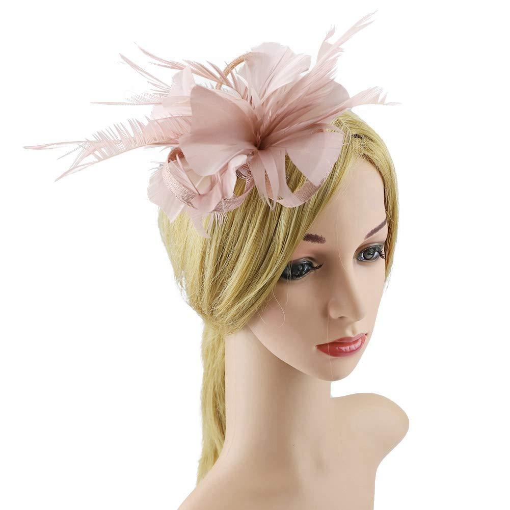 BAOBAO Womens Feather Mesh Net Fascinator Hair Clip Hat Wedding Cocktail Tea Party
