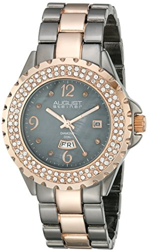 August Steiner Women's AS8156 Two Tone Crystal Accented Quartz Watch with Mother of Pearl Dial and Link Bracelet (Rose Gold/Gray) ()