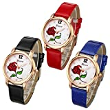 Top Plaza Women Casual Elegant Rose Gold Tone Analog Quartz Watch Rose Flower Pattern Rhinestones PU Leather Strap Wrist Watch(Set of 3)