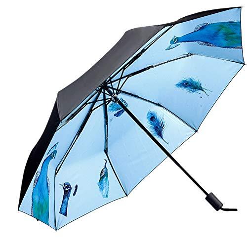 4Truth Sun Umbrella Folding, Women UV Waterproof Umbrellas Protection Digital Printing, Ladies Creative Triple 190T 8 Bones Parasol (Black)