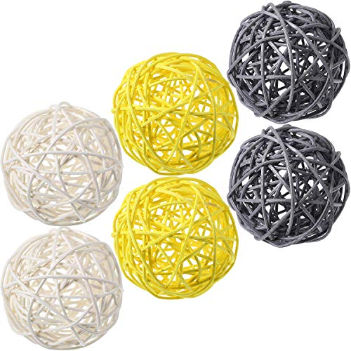 7Pite 15 Pieces Wicker Rattan Balls, Decorative Orbs Natural Rattan Balls Vase Fillers for Craft Project, Wedding Table Decoration, Themed Party (Rattan Craft Articles)
