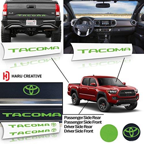 Tailgate Sill - Haru Creative - Toyota Tacoma 2016 2017 2018 Full Decal Set - Rear Tailgate - Glove Box Dashboard - Door Sill Protector Overlay Insert Decal - Matte Green