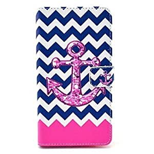 HJZ The Wave Anchor Pattern PU Leather Case with Stand Card Holder for Samsung Galaxy Note 4
