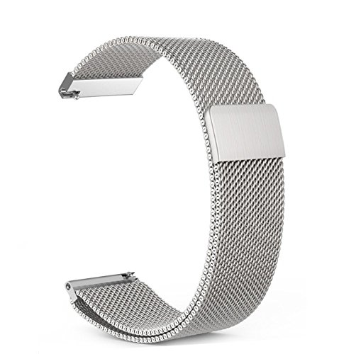 Vivoactive 3 Band,ViCRiOR Quick Release Milanese Loop Mesh Stainless Steel Metal Strap with Magnetic Closure Clasp for Garmin Vivoactive 3/3 Music, Forerunner 645 Music, Silver