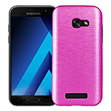 MOONCASE Galaxy A5 2017 Case,Dual Layer Brushed Anti-Scratch Hard PC Back Panel + Soft TPU Protective Case Cover for Samsung Galaxy A5 2017 SM-A520 5.2 Inch Pink