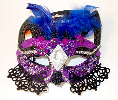 Shopko Purple Black Blue Glitter Feathers Cat Mask Mardi Gras Halloween OSFM