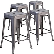 Flash Furniture 4-XU-DG-TP0004-24-GG 4 Pk. 24' High Backless Coated Metal Indoor Barstool with Square Seat Clear