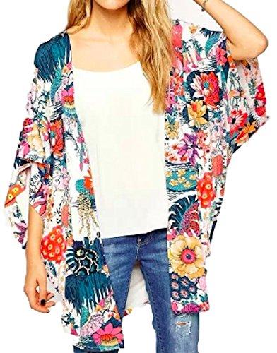 Women's Sheer Chiffon Shirt Kimono Blouse Loose Fit Long Tops Sexy Beach Cover up Floral Print Sun Protection Cardigan (XL) Lounge wear Jersey Hoodie Coat Jacket Sweatshirts Bikini Swimsuits Swimwear by Moon Market