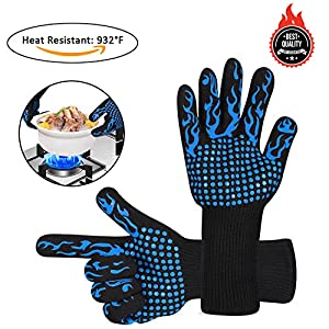 Awekris BBQ Grilling Cooking Gloves, 932℉ Extreme Heat Resistant Gloves, Grill Oven Safety Mitts - 1 Pair 14 inch Long for Extra Forearm Protection