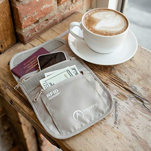 Suitable for Smart Phone and Credit Card Adjustable Strap Slim and Lightweight Premium RFID Passport Holder with Water Resistant Zippers Inspiring Adventures Neck Wallet for Men and Women 636790986318