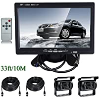 Ehotchpotch Backup Camera Kit for Bus Truck Vehicle, 7 Color TFT LCD Widescreen16:9 Rearview Monitor, 4 Pin Connectors Waterproof CCD Camera IR Night Vision, Distance Scale Lines