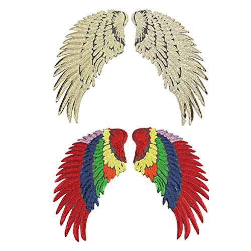 Military Ba 2pairs Cool Sparkling Wing Parches Embroidery Iron on Patches Clothing DIY Decoration Clothes-15 M Golden,Colorful]()