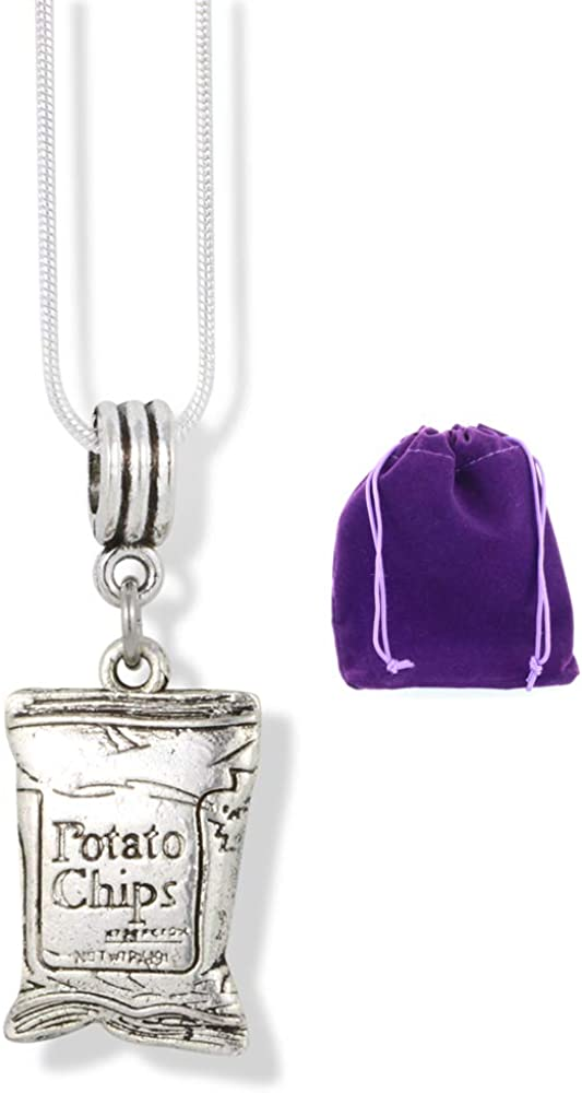 Potato Chip Necklace | Snack Junk Food Charm Snake Chain Pendant for Men and Women