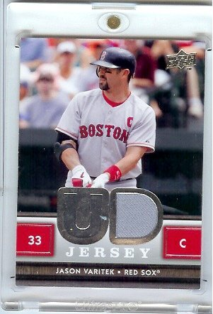 2008 Upper Deck Jason Varitek Boston Red Sox Game Worn Jersey Baseball Card
