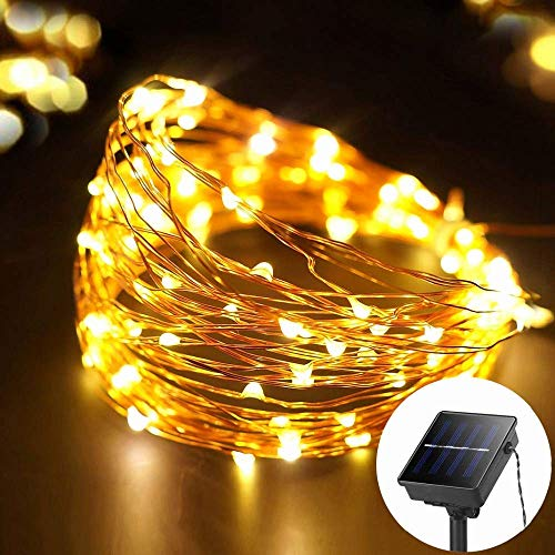 MustWin Outdoor Twinkle Lights Solar Waterproof, 33ft 100LEDs 8 Flashing Modes, Lights Up to 10 Hours, Solar LED Flexible Copper Wire Fairy Lights, Solar Powered String Lights, Safety, Warm White