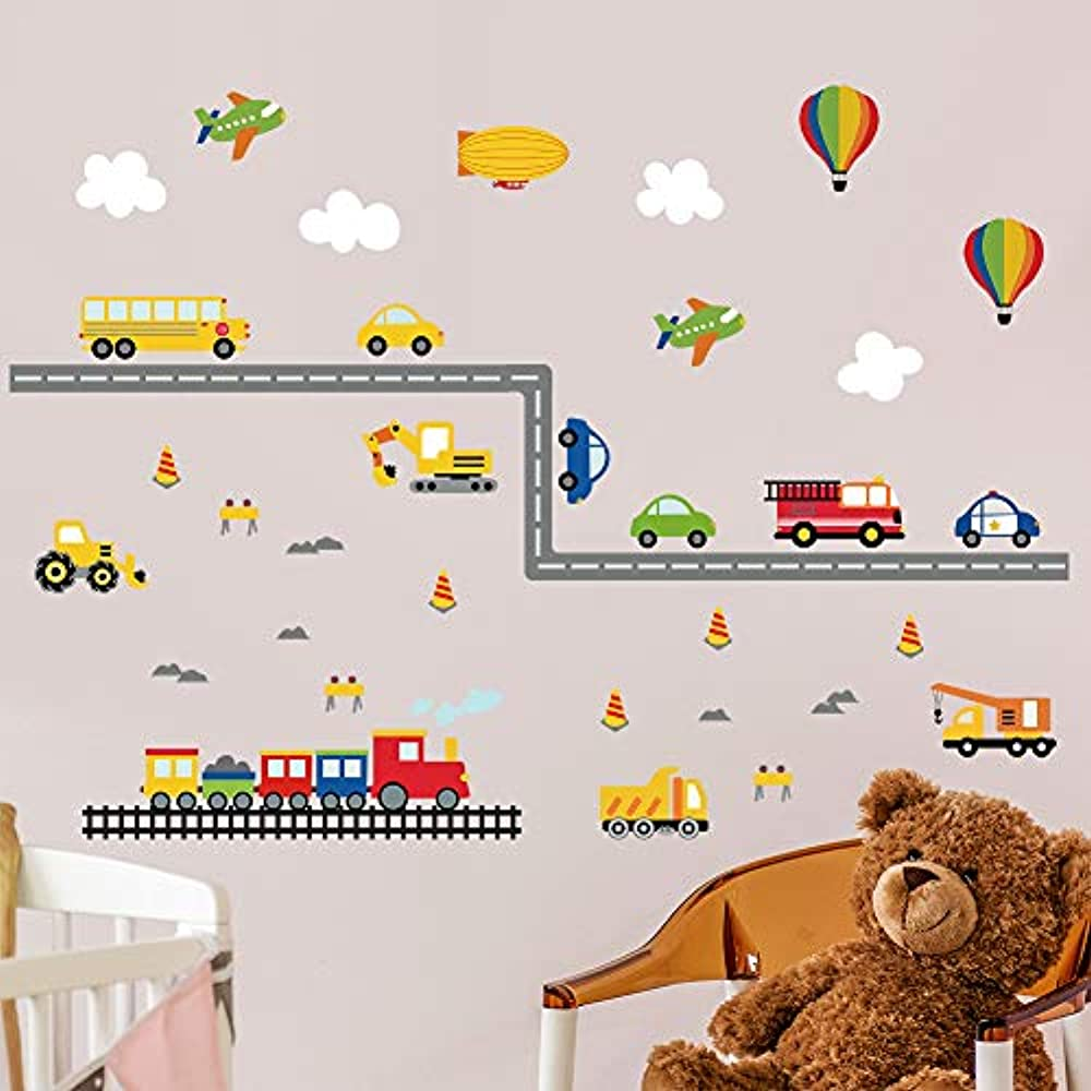 decalmile Cars Wall Decals Boys Transportaion Wall Stickers Kids Room Wall Decor Baby Nursery Playing Room Wall Art