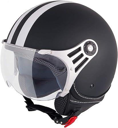 Vinz Fiori Roller Helm Jethelm Fashionhelm In Gr Xs Xl Jet Helm Mit Streifen Ece Zertifiziert Motorradhelm Mit Visier Schwarz Matt Auto