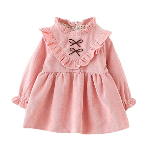 Hot Sale! Christmas Gift Toddler Kids Baby Girls Autumn Long Sleeve Princess Dress Outfits Clothes By Pocciol (Pink, 18-24M)