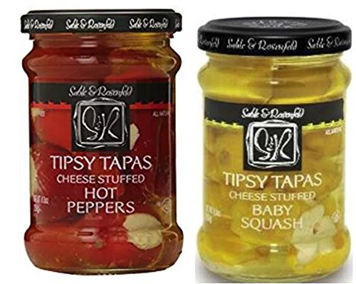Sable & Rosenfeld Sweet Peppers - Sable & Rosenfeld Tipsy Tapas Peppers, Hot, 8.8 oz & Cheese Stuffed Baby Squash 8.8 oz (Pack of 2)