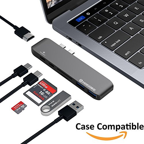 USB C Hub Macbook Pro Hub Thunderbolt 3 Adapter 2016 2017, Aluminum Type C Multiport Dongle Dock with HDMI, 40Gbps TB3, 100W Pass-Through Charging, 4K HDMI, USB-C, SD/MicroSD Card Reader, 2 USB 3.0