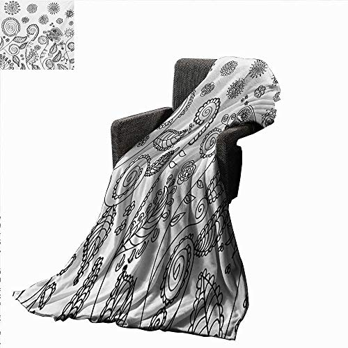 Floral Lightweight Blanket Doodle Style Circular Swirled Flower Petals Butterfly Leaves Curved Branches Design,Super Soft and Comfortable,Suitable for Sofas,Chairs,beds