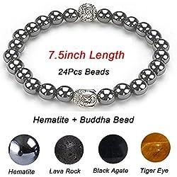 Buddha Prayer Hematite Beads Stretch Bracelets, Healing Energy Magnetic Gemstone Ball Beads Stretch Bracelets for Men H002-24
