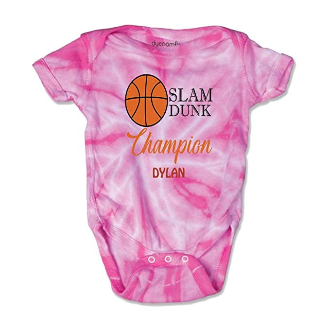 b1127e49c62 Personalized Custom Basketball Slam Dunk Champion Cotton Short Sleeve  Envelope Neck Boys-Girls Baby Bodysuit