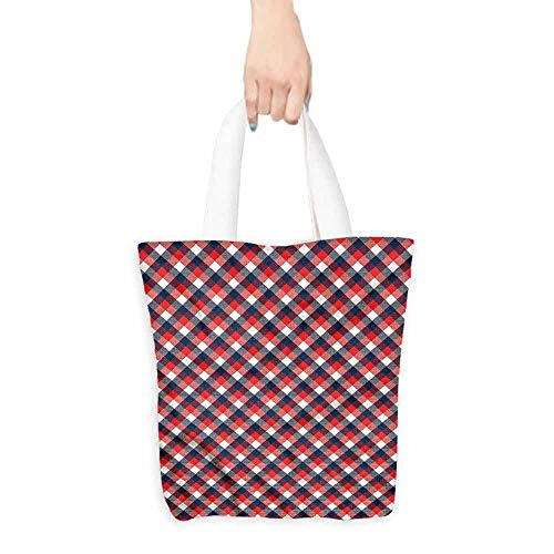 Tote bag,Plaid Checkered Gingham English,Canvas Grocery Shopping Bags with Handles,16.5