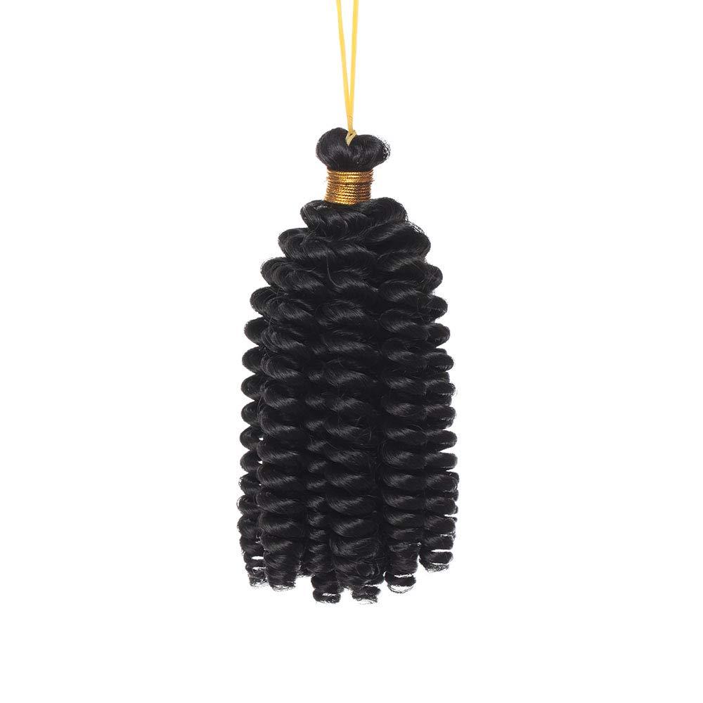 SEGO Extension Capelli Corti Ricci Marley Bob 15cm Treccine a Crochet Tessitura Matassa Sintetica Spirale 1 Bundle Braiding Hair 60g - Nero ombre Rosso Vino