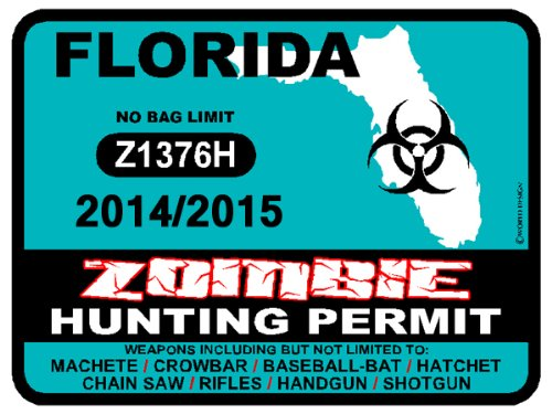 FLORIDA Zombie Hunting Permit 2014/2015 Car Decal / Sticker