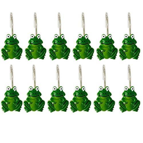 YING CHIC YYC Set of 12 Resin Frog Shower Curtain Hooks Cartoon Bath Room Hooks Bathroom Decor by YING CHIC