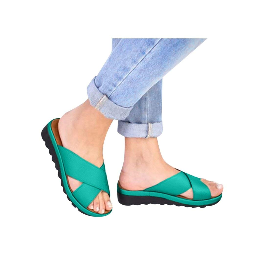 Women's Aditi Low Wedge Dress Sandals Casual Flip Flops Buckle Strap Wedges Sandals Platforms Shoes Green by NIKAIRALEY Shoes